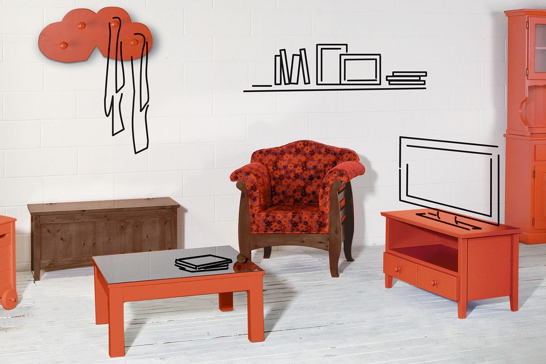 LAR9 Poltrona - Poltrona rustica in legno, con cuscini in diversi ...