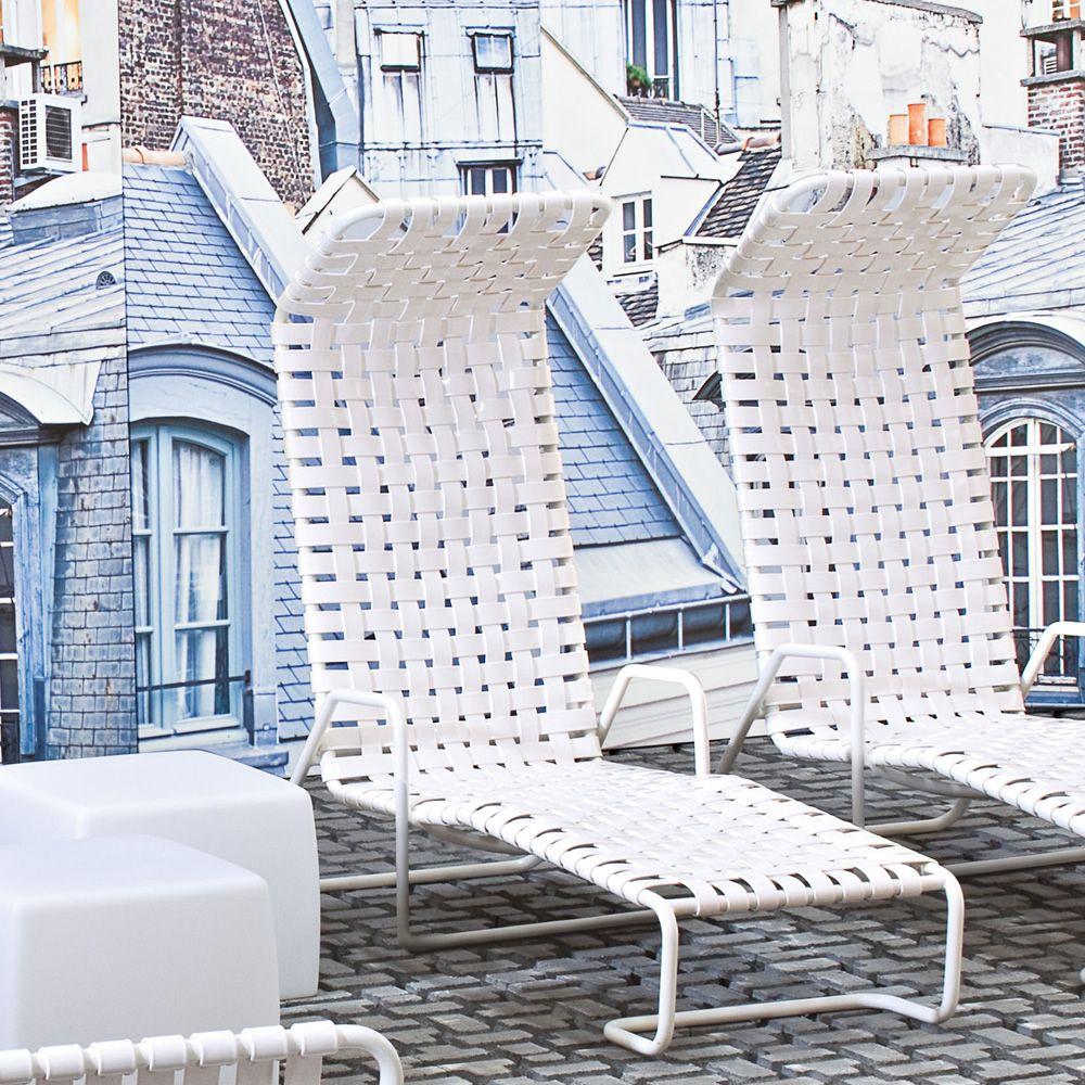 inout 881 f gervasoni chaise longue in aluminium with pvc seat for garden sediarreda. Black Bedroom Furniture Sets. Home Design Ideas