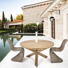 Canyon - Tavolo in teak, piano rotondo diametro 135cm, anche per esterno