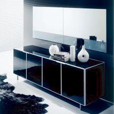Eidos - Designer Spiegel Bontempi Casa, mit farbigem Streifen, mit vertikaler oder horizontaler Ausrichtung verfügbar