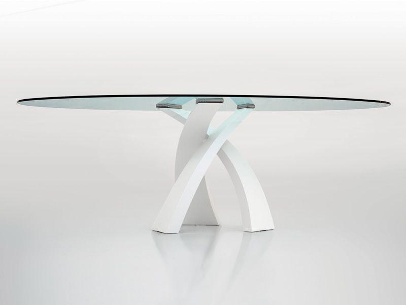 Eliseo 8028 tavolo tonin in metallo con piano in vetro for Tavolo ovale in vetro allungabile