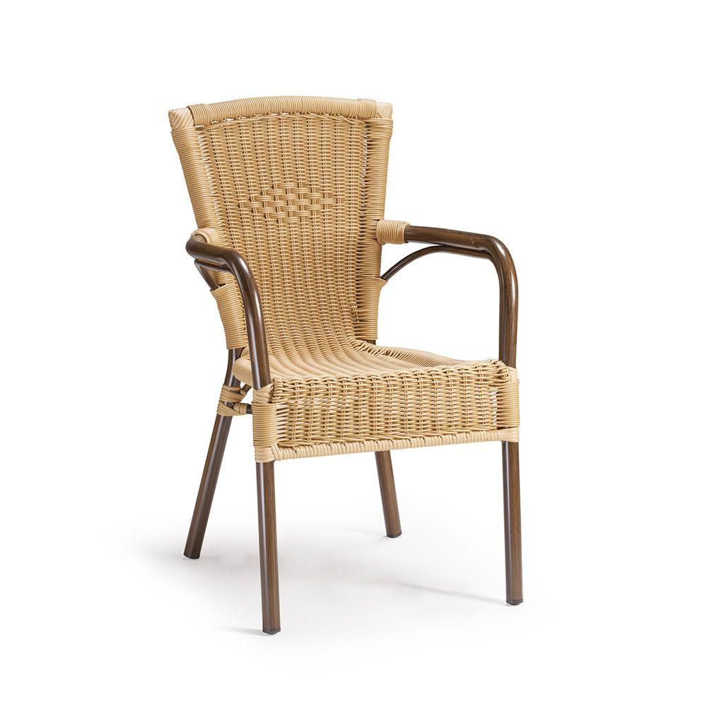 Tt959 n chaise de jardin avec accoudoirs en aluminium et for Chaise et table en rotin