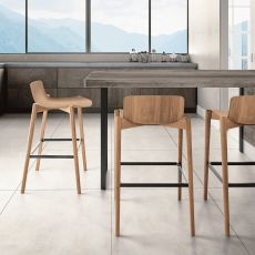 Dandy.ss - Colico stool in oak wood, seat height 64 or 74 cm