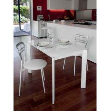 Universe-110 - Tisch Domitalia aus Metall, Platte aus Laminat oder Glas, 110 x 70 cm verlängerbar