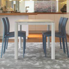 Goccia - Tavolo allungabile Colico Design in alluminio con piano in vetro, rettangolare 110(150)x70 cm, disponibile in diversi colori