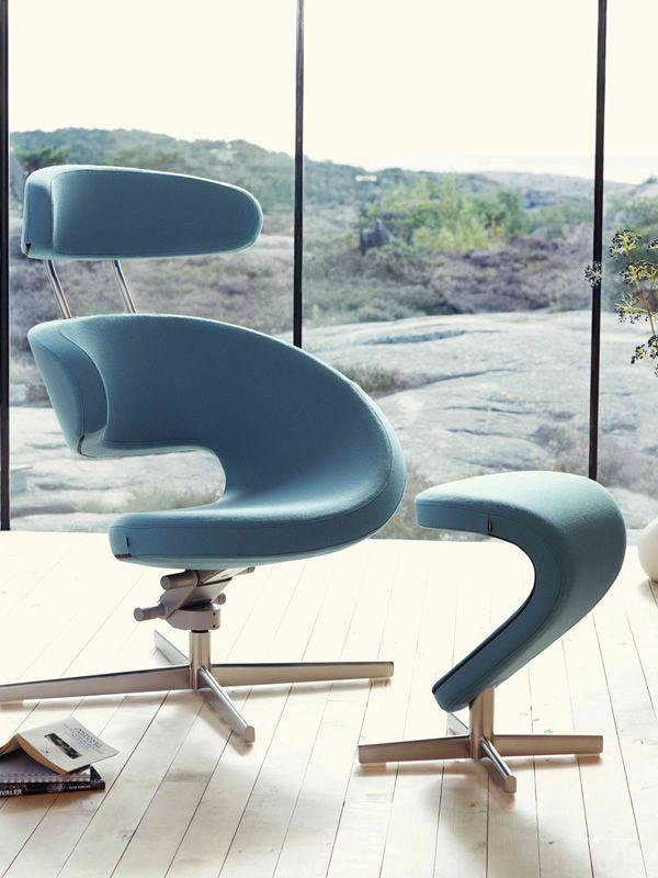 Peel™ Metal - Poltrona design ergonomica con poggiapiedi Peel ...