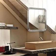 Route - Bontempi Casa design mirror, square or rectangular, with steel support structure available in different colours