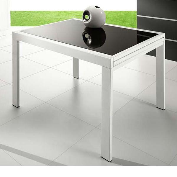 VR120 - Tavolo allungabile in metallo con piano in vetro 120 x 90 ...