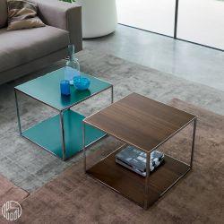 pitagora tavolino quadrato dall 39 agnese in metallo e impiallacciato diversi colori disponibili. Black Bedroom Furniture Sets. Home Design Ideas
