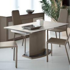 Discovery V - Tavolo Domitalia in metallo o impiallacciato, piano in vetro, 160 x 90 cm allungabile