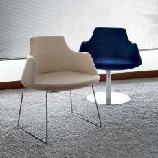 Antheia - Sillón design de Tonon, estructura tipo trineo o giratoria, en piel o tela de varios colores
