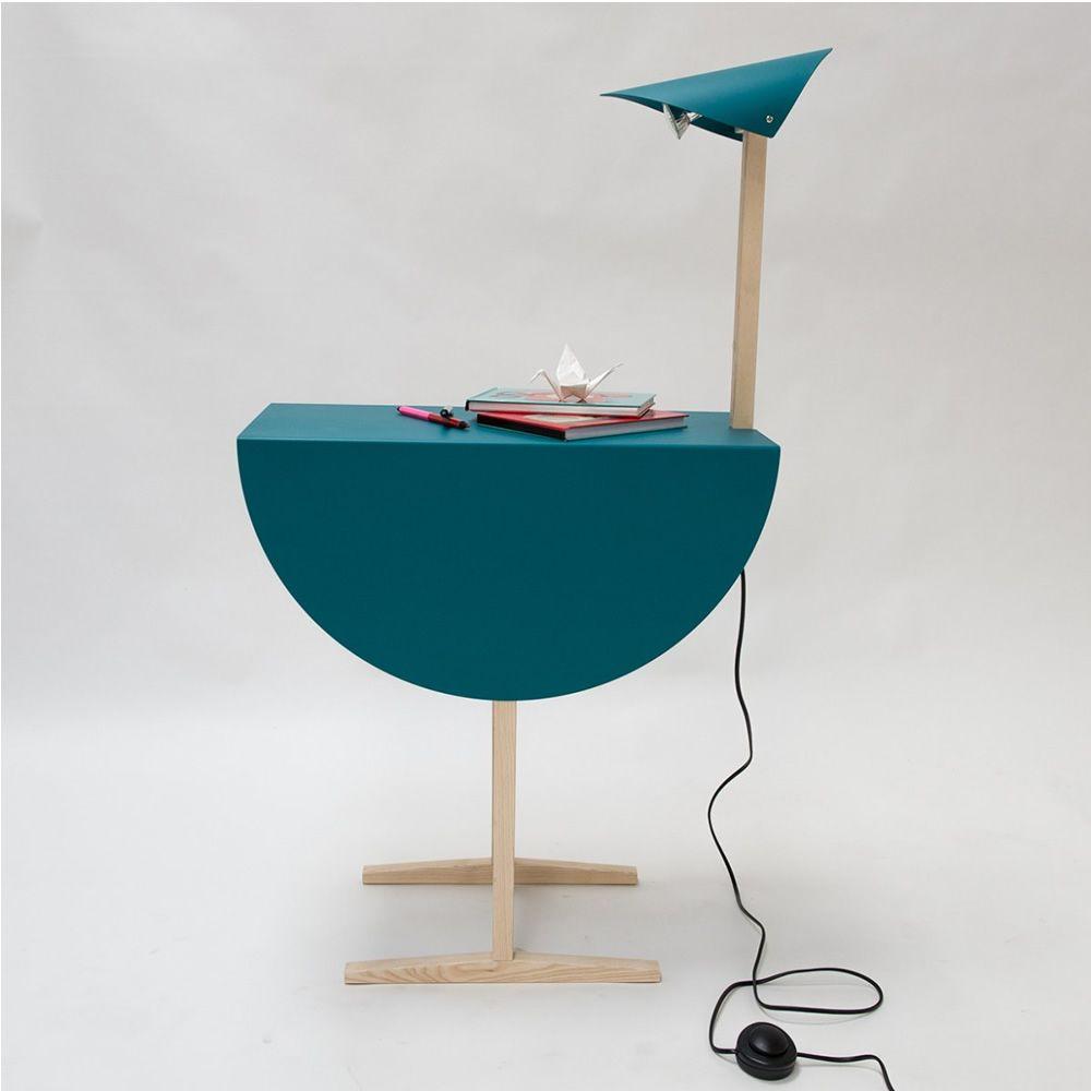 ostrich table basse table de chevet valsecchi en bois et en m tal avec lampe int gr e. Black Bedroom Furniture Sets. Home Design Ideas