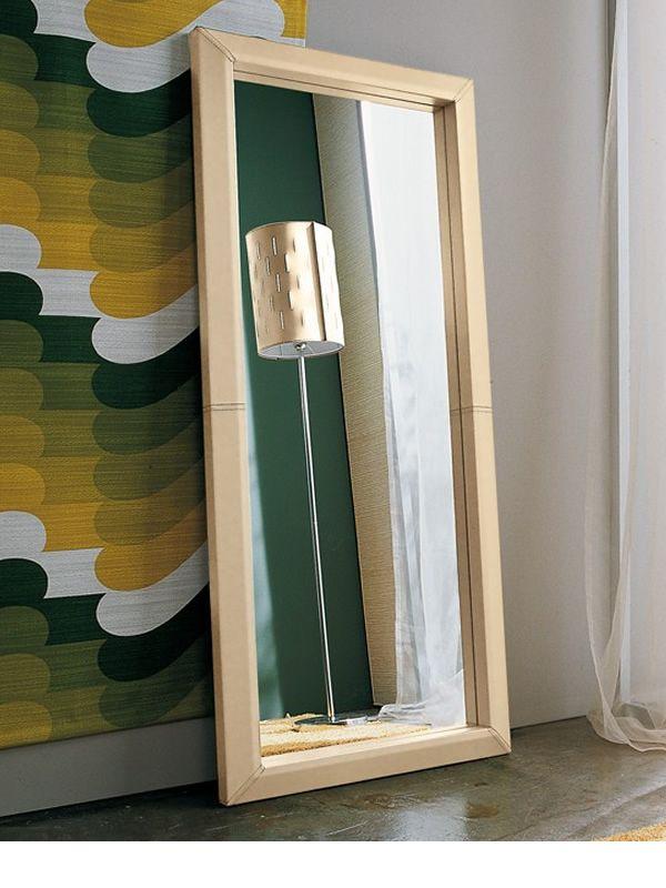 rechteckiger spiegel mit lederrahmen verschiedene gr en. Black Bedroom Furniture Sets. Home Design Ideas