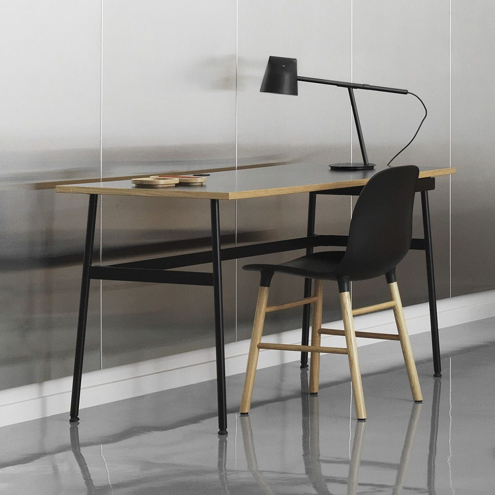 Journal Writing Desk Made Of Black Varnished Steel Laminate Top With Oak Edge