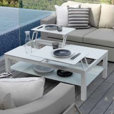 Chic - T - Coffee table in aluminium, available in several sizes and colours, for garden