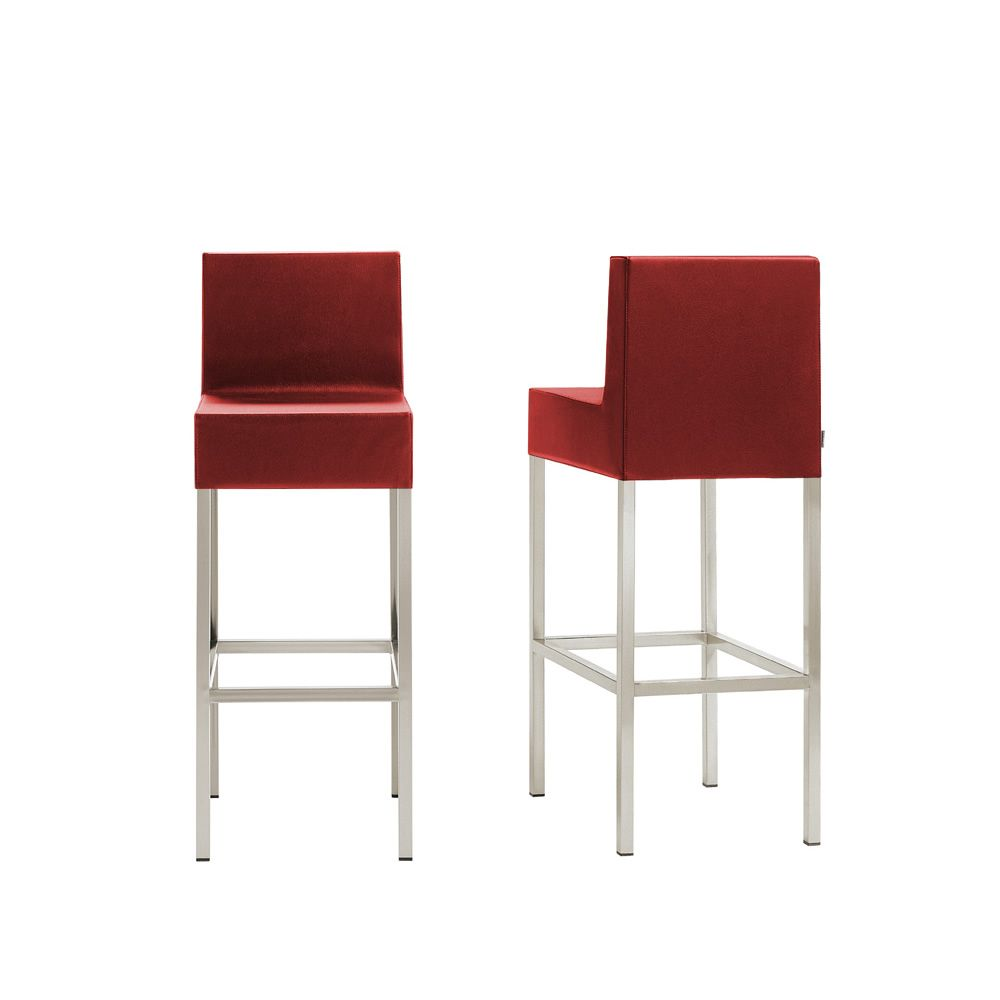 Cube XL 1461 - Pedrali high stool in metal with upholstered seat and ...