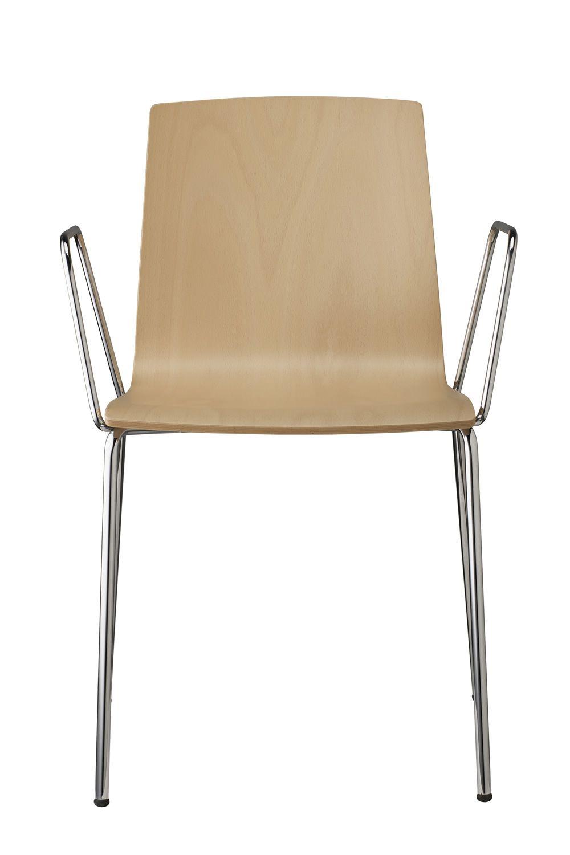 alice wood 2845 chaise moderne en m tal chrom assise en bois avec ou sans accoudoirs. Black Bedroom Furniture Sets. Home Design Ideas