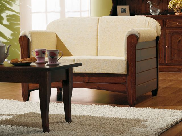 Lar8 divano divano rustico in legno con cuscini in - Divano country rustico ...