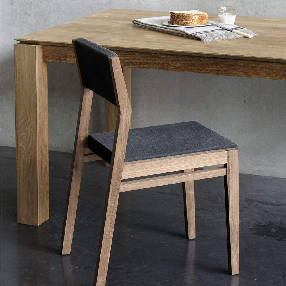 EX1: Silla Ethnicraft de teca, asiento y respaldo tapizados en ...