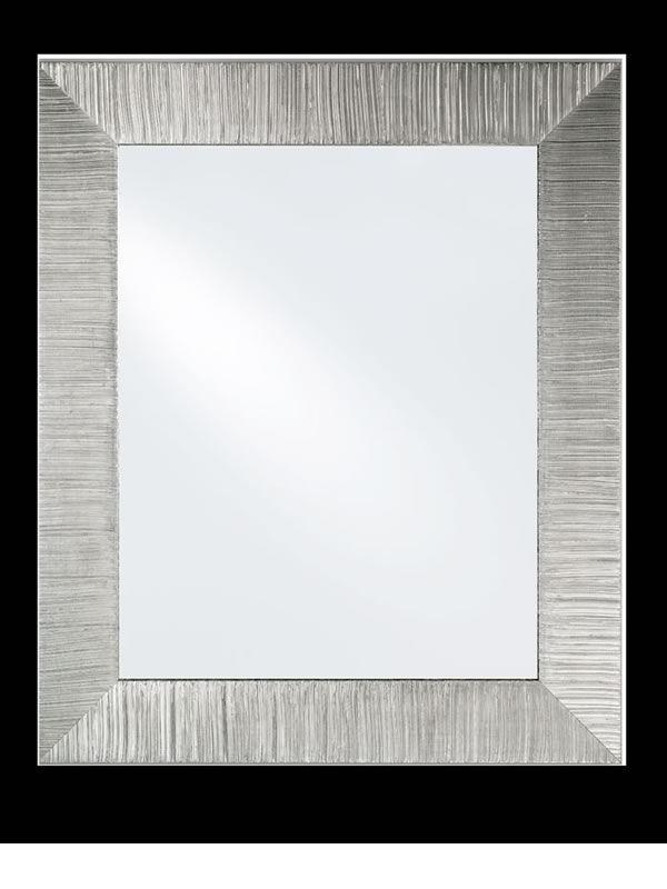 Diva espejo con marco de madera decorado hoja plata for Espejos con marco de madera decorados
