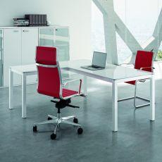 Office X4 02V - Scrivania da ufficio con penisola, struttura in metallo e piano in vetro, disponibile in diverse dimensioni e finiture