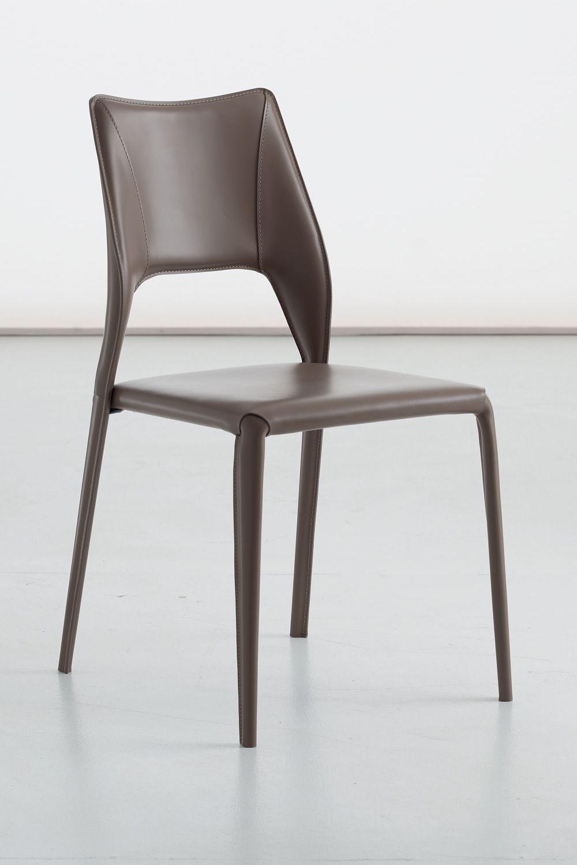 Atene sedia di design in metallo rivestita disponibile for Sedia design marrone