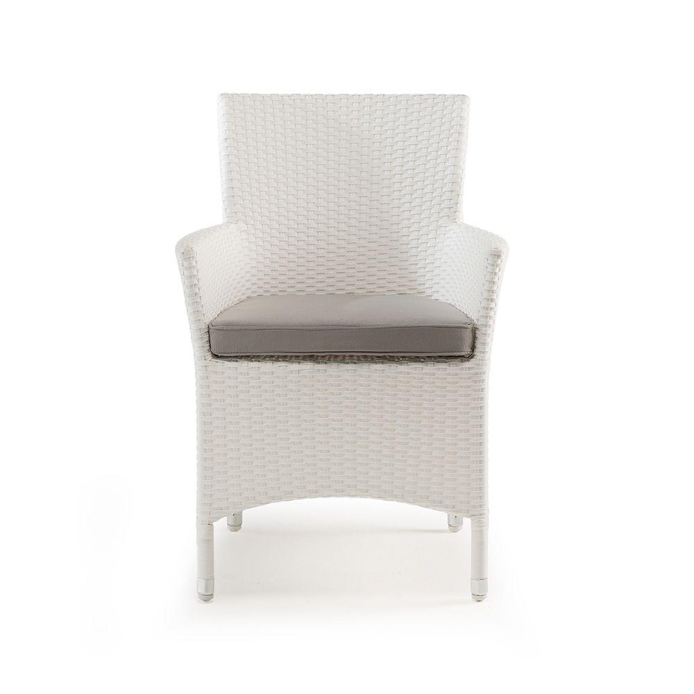 tt909 fauteuil de jardin avec coussin structure en aluminium rev tement effet rotin. Black Bedroom Furniture Sets. Home Design Ideas