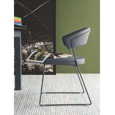 CB1022-LH1 New York - Silla de metal Connubia - Calligaris, con tapicería en piel, disponible en distintos colores
