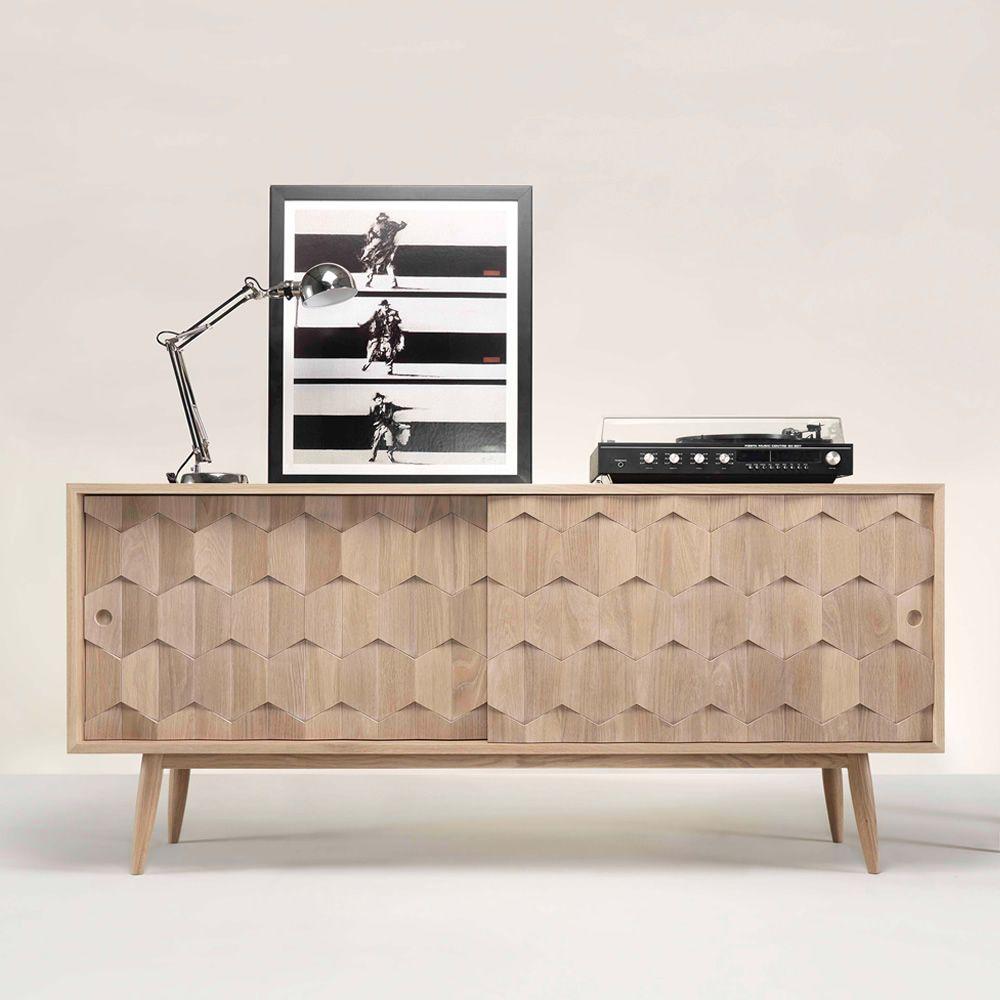Scarpa mueble de sal n con puertas corredizas estantes for Mueble salon cajones