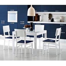 Asso-90 - Table Domitalia en bois avec plateau en verre, 90 x 90 cm à rallonge