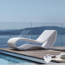 Breez 2.0 - Design sunbed in aluminium with fabric covering, for outdoor