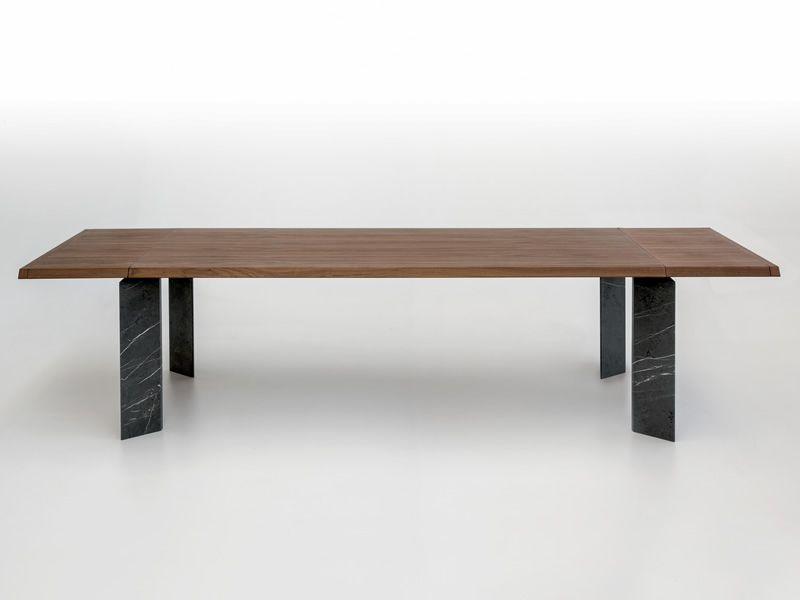 8068f roma tavolo design tonin gambe e piano in legno for Tavolo marmo design