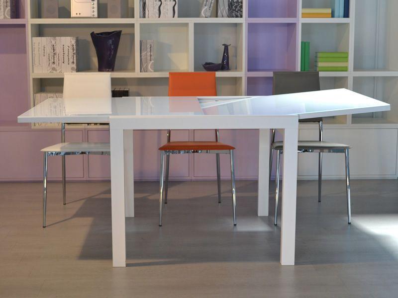 Kendy tavolo moderno in legno piano in vetro 90x90 cm - Meccanismo per tavolo allungabile ...