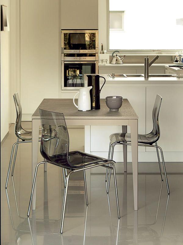 Wind-130 - Tavolo Domitalia in metallo, piano in vetro o laminato, 130 x 85 c...