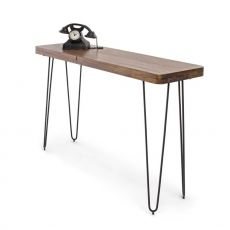 Nairobi Consolle - Vintage console, 115x40 cm, with metal base and wooden top