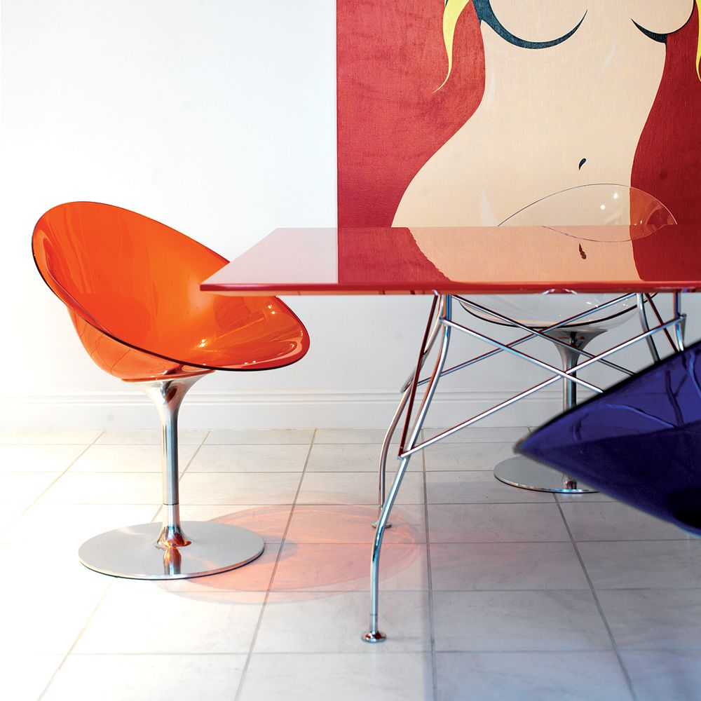 eros swivel chair kartell with central aluminum base and seat in  - eros  design kartell chair in polycarbonate in orange red colour