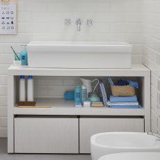Acqua e Sapone C - Badmöbel mit Waschbecken und Schubkasten als Stufe für Kinder, in verschiedenen Farben verfügbar