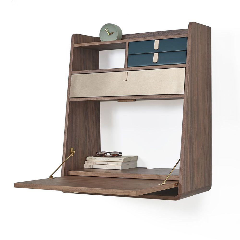 Gaston Wall Secretary Desk In Walnut Wood With Folding Table Drawers Bronze