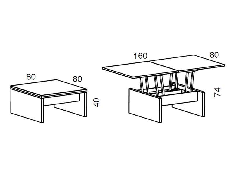 Marte tavolino trasformabile in tavolo da pranzo in legno 80 160x80 cm altezza 41 74 cm - Altezza tavolo da pranzo ...