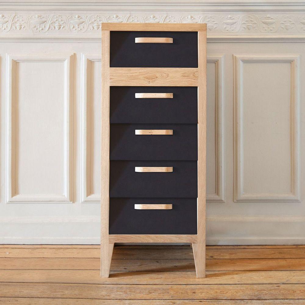60 39 s h hohe kommode ethnicraft aus holz mit 5 schubladen aus mdf in verschiedenen farben. Black Bedroom Furniture Sets. Home Design Ideas
