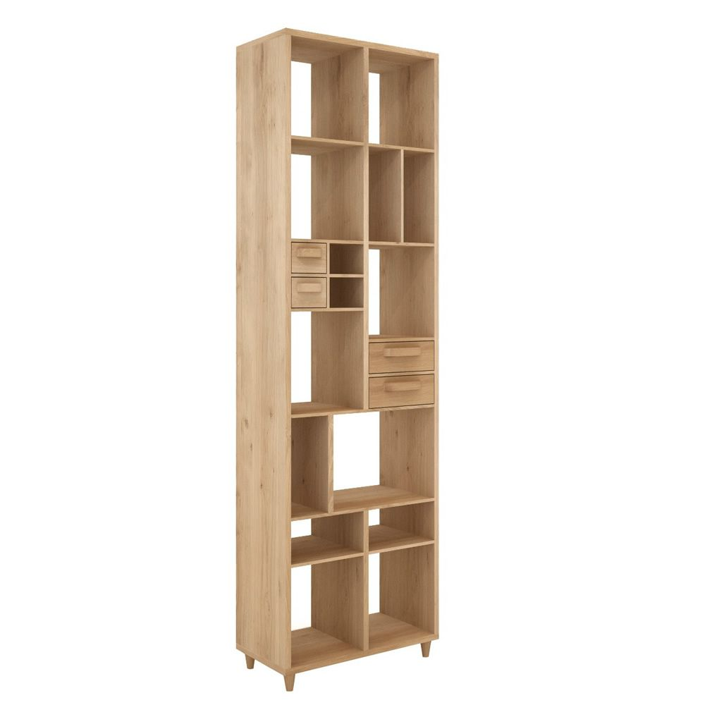 pirouette biblioth que ethnicraft en bois avec 4 tiroirs. Black Bedroom Furniture Sets. Home Design Ideas