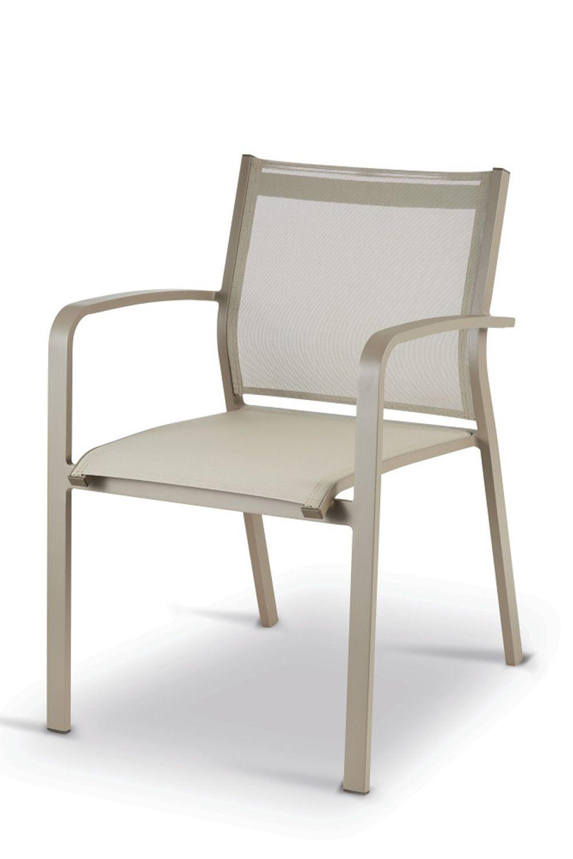 Tt936 sedia con braccioli in alluminio e textilene for Sedie alluminio
