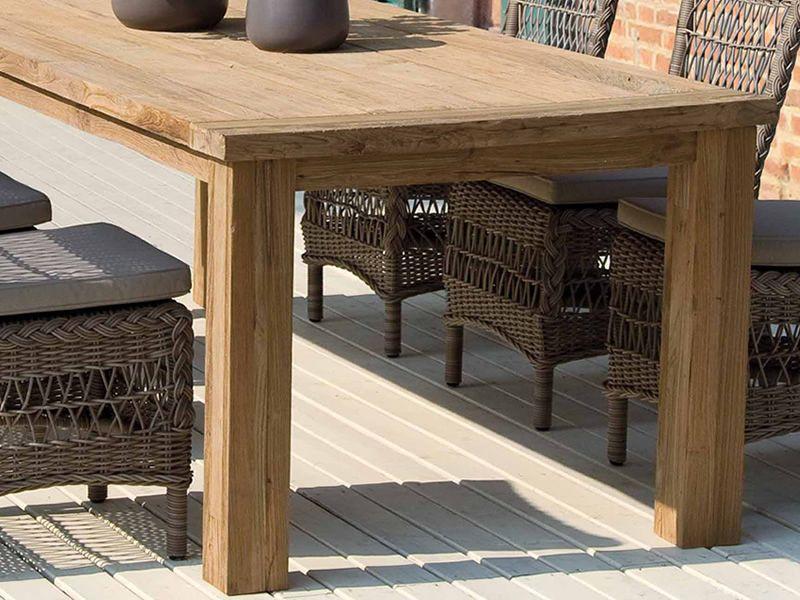 Garda: Teak table, 240x100 cm rectangular top, also for outdoor ...