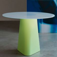 Adam 100 - Design table B-Line, also for outdoor, made of polyethylene, with round top in glass, available in different colours