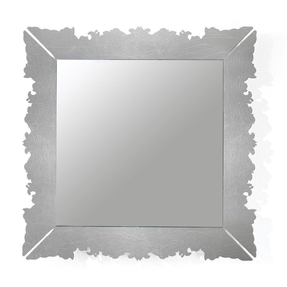 Novecento q specchio quadrato colico design 90x90 cm in - Specchio con cornice argento ...