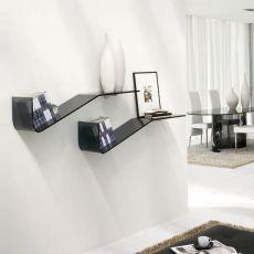 6467 - Tonin Casa shelf made of bent glass in grey