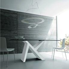 aKille - Table moderne en bois, fixe ou à rallonge, plateau en verre ou mélaminé, disponible en différentes dimensions
