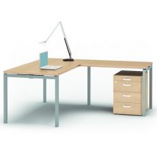 Idea CA-10 - L-shaped desk for office, with metal frame and laminate top, available in different dimensions and colours