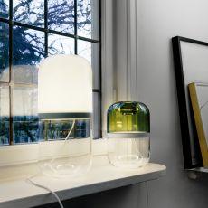 Demi - Lámpara de mesa de design en cristal, LED, en distintos colores y alturas