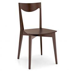 408 - Sedia in legno con seduta in multistrato tinta wengè